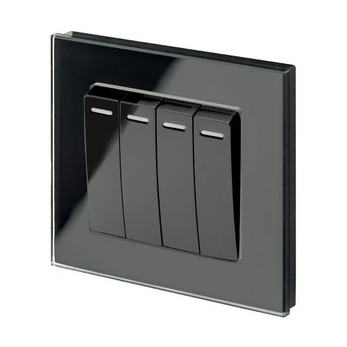 RetroTouch 4 Gang 1 Way 10A Pulse/Retractive Light Switch Black Glass PG 00258